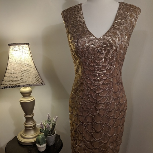 Sue Wong Dresses & Skirts - Sue Wong Sequin Gold Dress Size 4